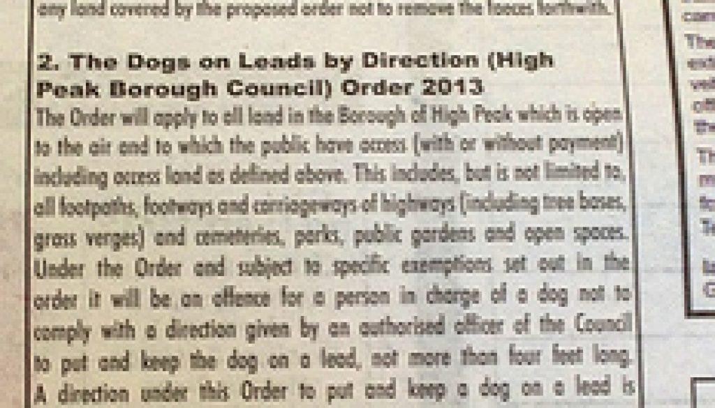 Dog Control Orders Notice