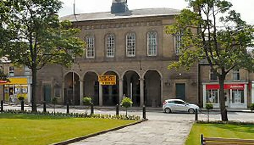 English: Glossop Town Hall From Norfolk Square...
