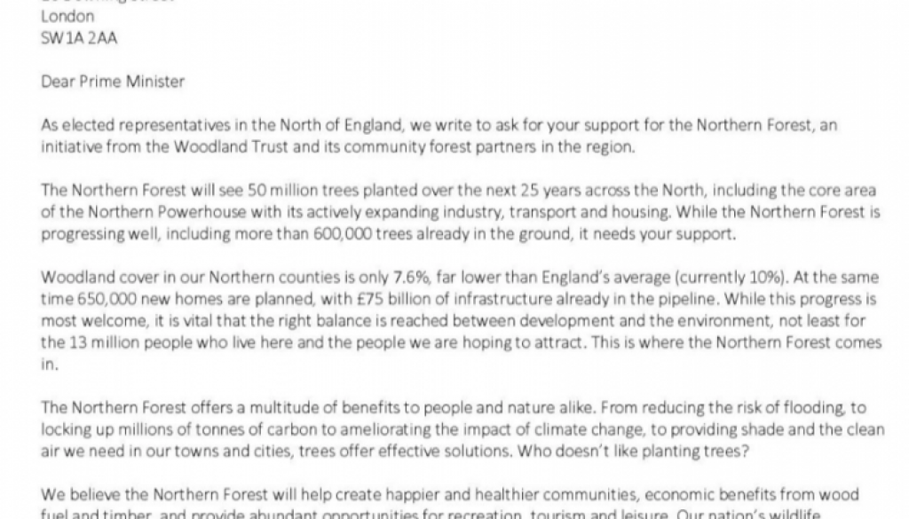 Leaders across the North call on Prime Minister to grow the Northern Forest Letter